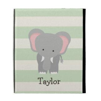 Elephant on Pastel Green Stripes iPad Case