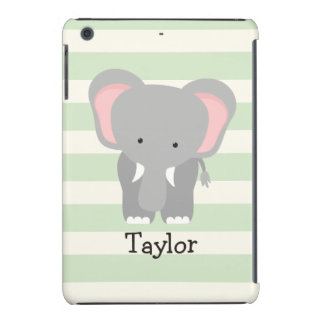 Elephant on Pastel Green Stripes iPad Mini Retina Cover