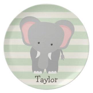 Elephant on Pastel Green Stripes Melamine Plate