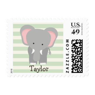 Elephant on Pastel Green Stripes Postage Stamps