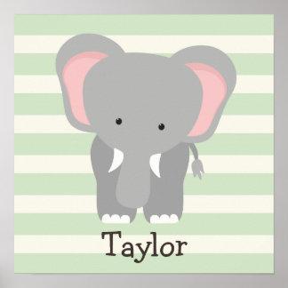 Elephant on Pastel Green Stripes Poster