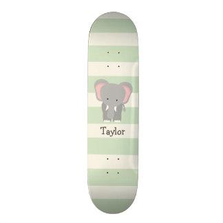 Elephant on Pastel Green Stripes Skateboard