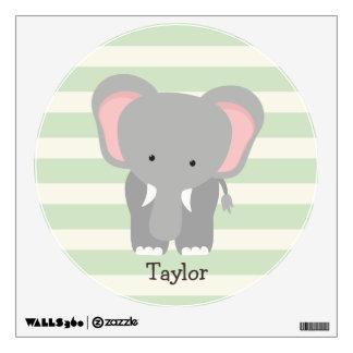 Elephant on Pastel Green Stripes Room Graphics