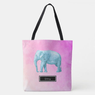 Elephant On Pink Watercolor Personalized Tote Bag