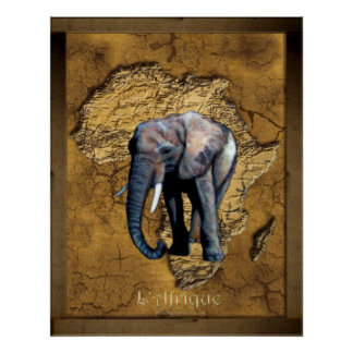 Elephant on Rustic Map of Africa Art Poster