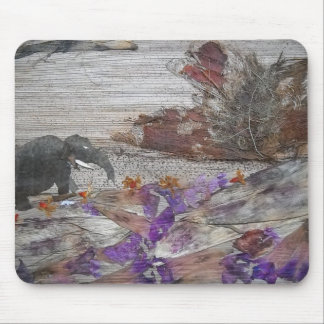 Elephant on Steep Road Mouse Pad