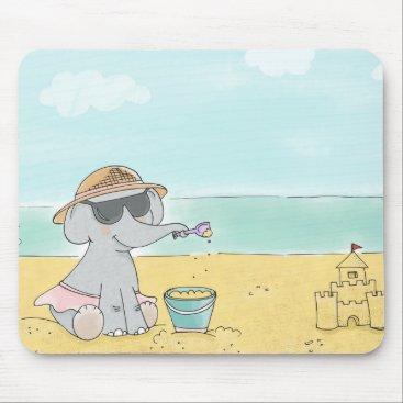 Elephant on the beach mouse pad