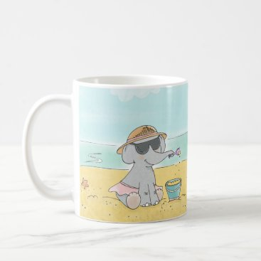 Elephant on the beach mug