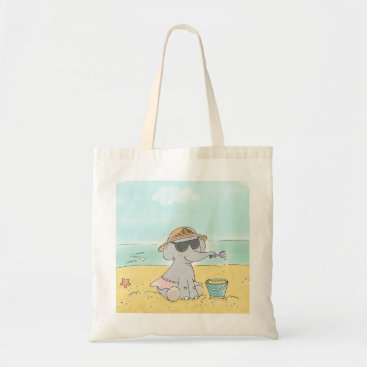 Beach Themed Elephant on the beach Tote bag
