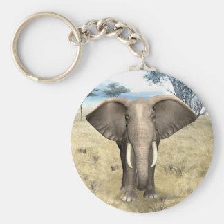 Elephant on the Savanna Keychain
