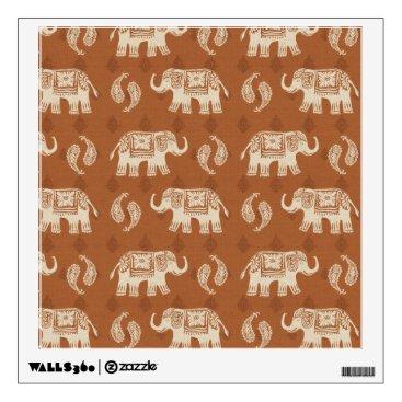 Art Themed Elephant Orange Caravan Pattern Wall Decal
