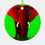 Elephant Double-Sided Ceramic Round Christmas Ornament