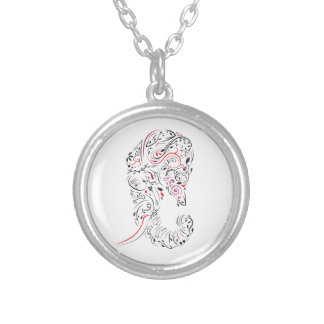 elephant ornate silver plated necklace
