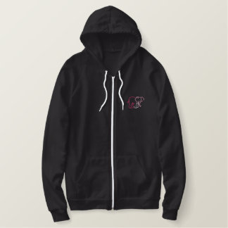 Elephant Outline Embroidered Hoodie
