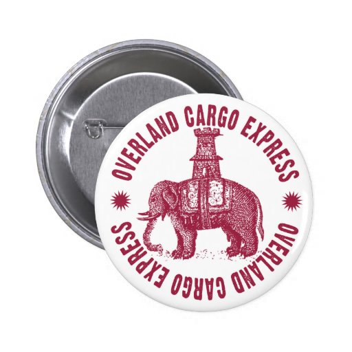 Elephant Overland Cargo Express Pinback Button