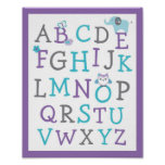 Elephant Owl Alphabet Wall Art
