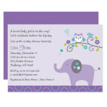 Elephant Owl Baby Shower Card