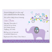 Elephant Owl Baby Shower Invitation
