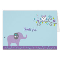 Elephant Owl Forest Thank You Note Cards