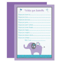 Elephant & Owl Wishes for Baby Card