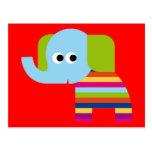 Elephant Pachyderm Elephants Cute Cartoon Animal Post Cards