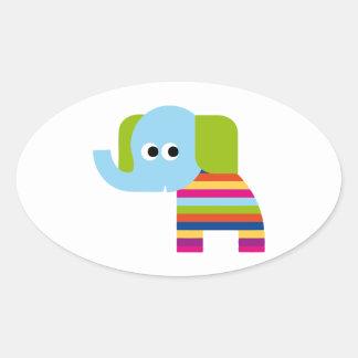 Elephant Pachyderm Elephants Cute Cartoon Animal Oval Sticker