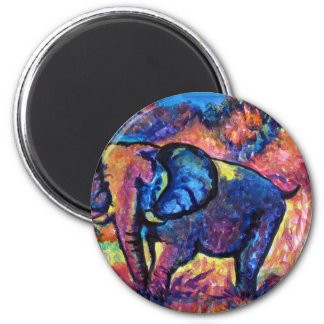 Elephant Painting 2 Inch Round Magnet