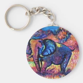 Elephant Painting Basic Round Button Keychain