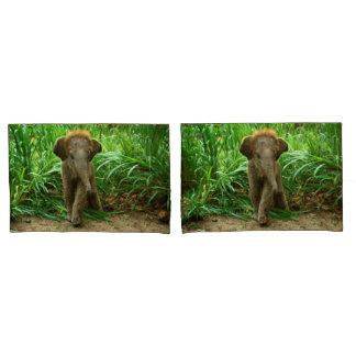 Elephant Pair of Pillowcases, Standard Size Pillow Case
