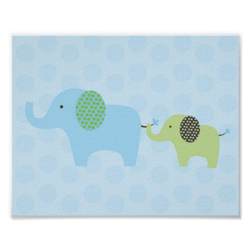 Elephant Parade Blue Green Nursery Wall Print