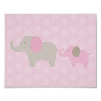 Elephant Parade Pink Taupe Nursery Wall Print