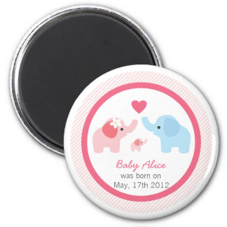 Elephant Parents and Baby Shower Magnet