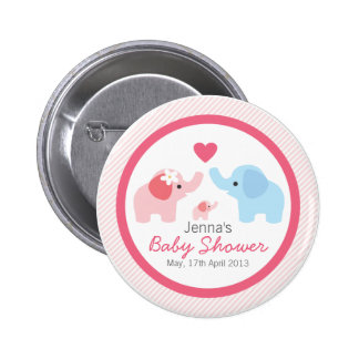 Elephant Parents and Baby Shower Pinback Button