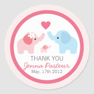 Elephant Parents and Baby Shower Round Stickers