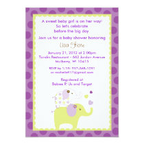 Elephant Patches Baby Shower Invitations