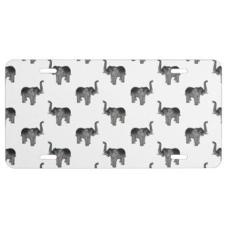 Elephant Pattern License Plate