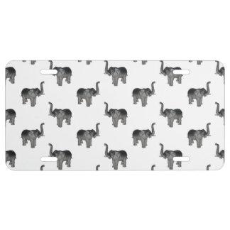 Elephant Pattern License Plate