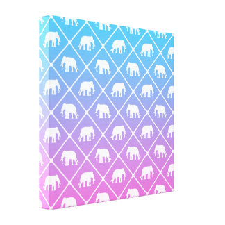 Elephant pattern on blue to pink gradient canvas print