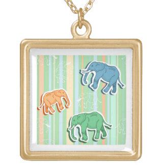 Elephant Pattern On Green Stripes Square Pendant Necklace