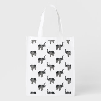 Elephant Pattern Reusable Grocery Bags