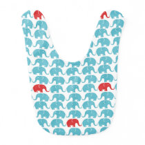 elephant pattern with red accent bib