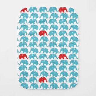 elephant pattern with red accent burp cloth