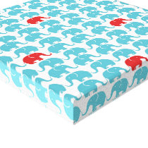 elephant pattern with red accent canvas print
