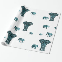 Elephant Pattern Wrapping Paper