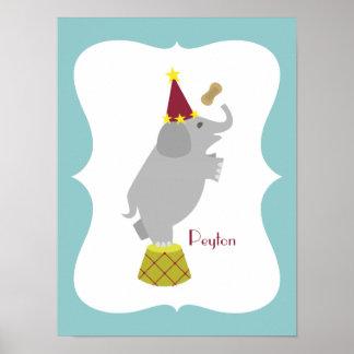 Elephant + Peanut Personalized Nursery Artwork Posters
