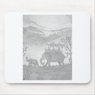 elephant pencil sketch mouse pad