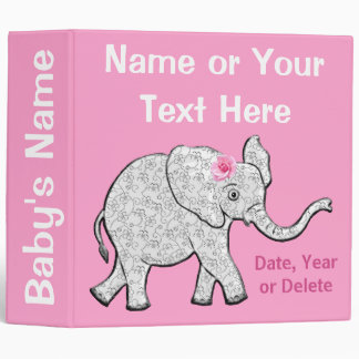 Elephant Photo Album Personalized for Baby Girls 3 Ring Binders