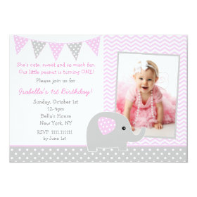 Elephant Photo Birthday Party Invitations 5