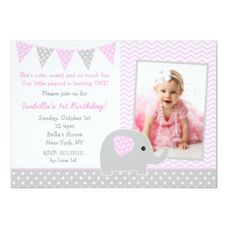 Elephant Photo Birthday Party Invitations