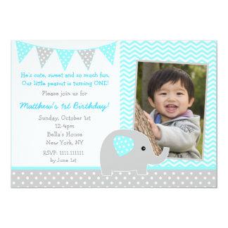 "Elephant Photo Birthday Party Invitations for Boy 5"" X 7"" Invitation Card"